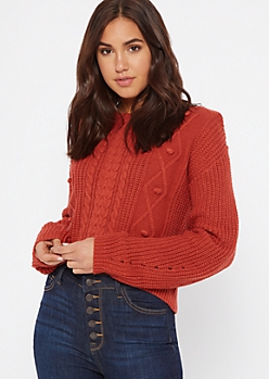 Burnt Orange Curved Hem Cable Sweater