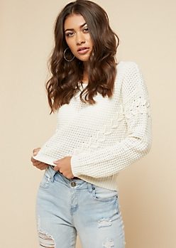 Ivory Lace Up Sleeve Skimmer Sweater