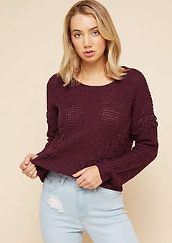 Purple Lace Up Sleeve Skimmer Sweater