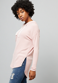 Light Pink Ribbed Knit High Low Hoodie