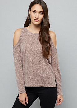 Pink Soft Knit Cold Shoulder Sweater
