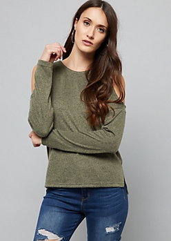 Olive Soft Knit Cold Shoulder Sweater