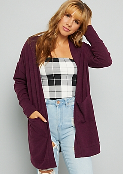 Heathered Purple Soft Knit Open Front Cardigan