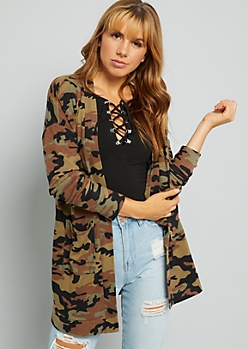 Camo Print Soft Knit Open Front Cardigan