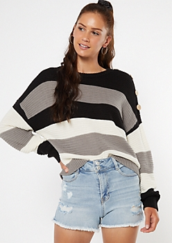 Black Striped Button Shoulder High Low Sweater