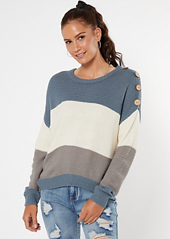 Blue Striped Button Shoulder High Low Sweater