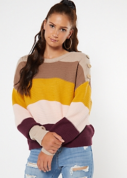 Mustard Striped Button Shoulder High Low Sweater