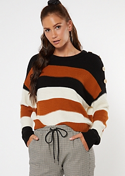 Burnt Orange Striped Button Shoulder High Low Sweater