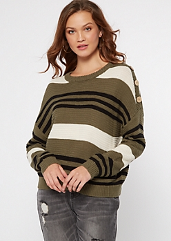 Olive Striped Button Shoulder High Low Sweater