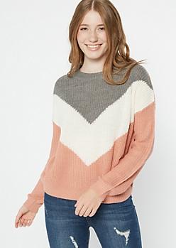 Pink Chevron Colorblock Sweater