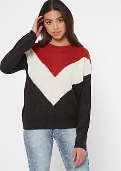 Burnt Orange Chevron Colorblock Sweater