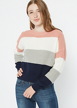 Pink Striped Fitted Sweater