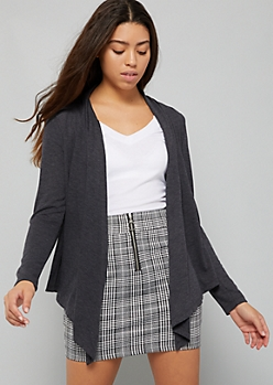 Charcoal Gray Tapered Front Knit Cardigan