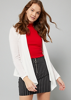 Ivory Tapered Front Knit Cardigan