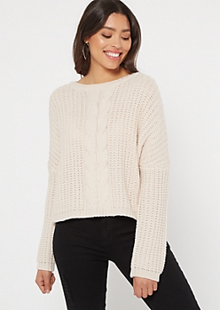 Cream Cable Knit Drop Sleeve Sweater