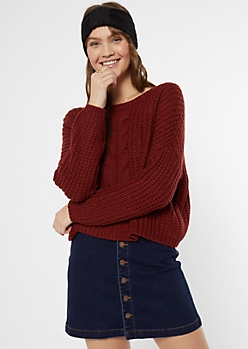 Dark Red Cable Knit Drop Sleeve Sweater