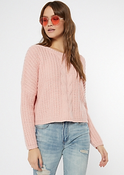 Pink Cable Knit Drop Sleeve Cropped Sweater