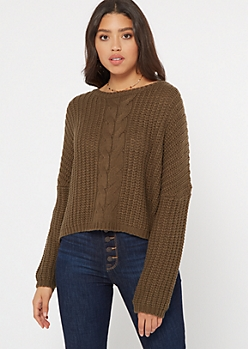 Olive Cable Knit Drop Sleeve Cropped Sweater