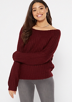 Burgundy Chunky On-Off Shoulder Sweater