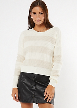 Cream Striped High Low Sweater