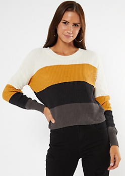 Yellow Striped High Low Sweater