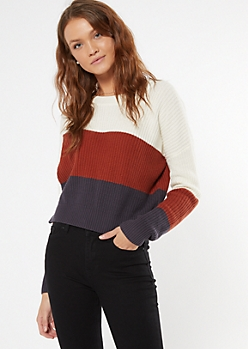 Burgundy Striped High Low Sweater