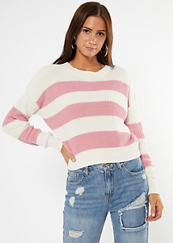 Pink Striped High Low Sweater