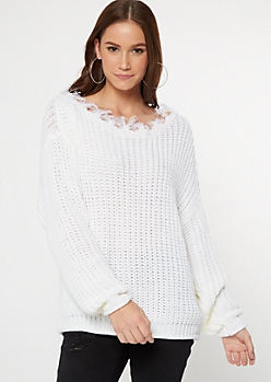 White Destructed Slouchy Sweater