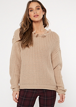 Tan Destructed Slouchy Sweater