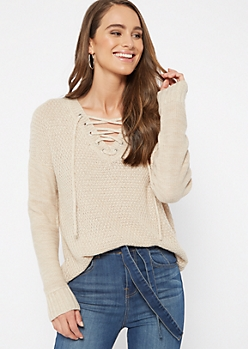 Heathered Oatmeal Drop Sleeve Lace Up V Neck Sweater