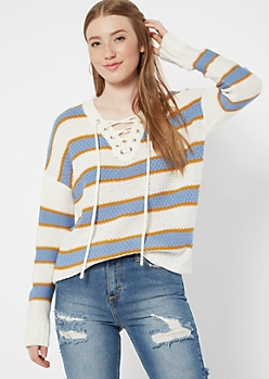 Blue Striped Drop Sleeve Lace Up V Neck Sweater