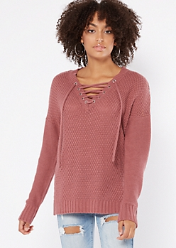 Mauve Drop Sleeve Lace Up V Neck Sweater