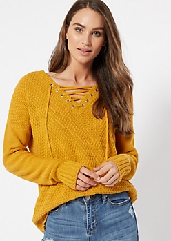 Mustard Drop Sleeve Lace Up V Neck Sweater