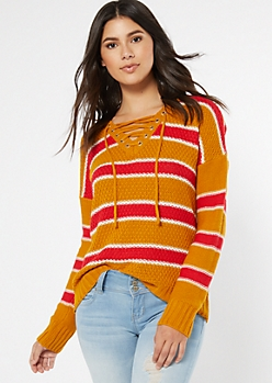 Mustard Striped Drop Sleeve Lace Up V Neck Sweater