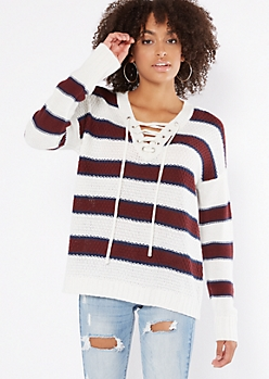 White Striped Drop Sleeve Lace Up V Neck Sweater