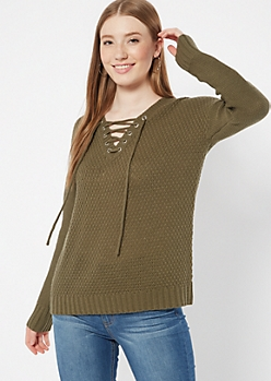 Olive Drop Sleeve Lace Up V Neck Sweater