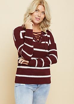 Burgundy Striped V Neck Lace Up Sweater
