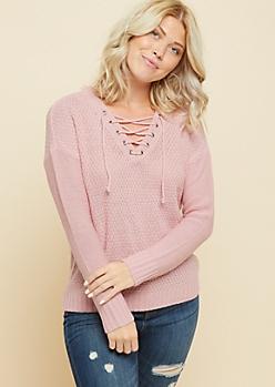 Light Pink V Neck Lace Up Sweater