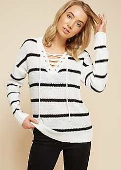 White Striped V Neck Lace Up Sweater