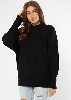 Black Mock Neck Puff Sleeve Tunic Sweater