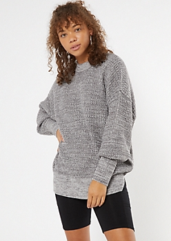 Heather Gray Mock Neck Puff Sleeve Tunic Sweater