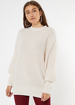 Cream Mock Neck Puff Sleeve Tunic Sweater