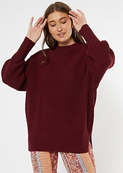 Burgundy Mock Neck Puff Sleeve Tunic Sweater