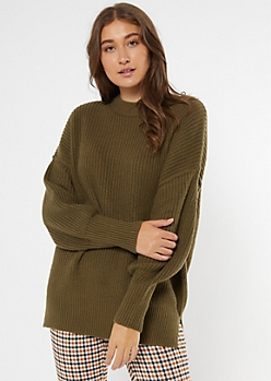 Olive Mock Neck Puff Sleeve Tunic Sweater