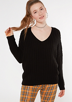 Black Slouchy Dolman Sleeve Sweater