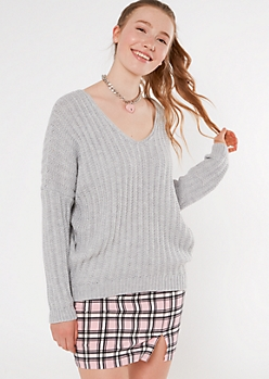 Heather Gray Slouchy Dolman Sleeve Sweater