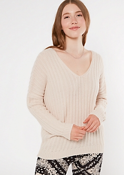 Cream Slouchy Dolman Sleeve Sweater