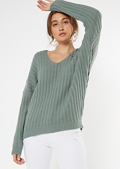 Sage Green Slouchy Dolman Sleeve Sweater