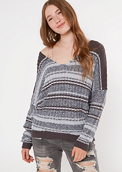 Rosewood Striped Slouchy Dolman Sleeve Sweater