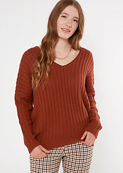 Burnt Orange Slouchy Dolman Sleeve Sweater